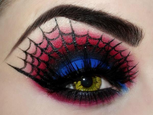 Idée maquillage Halloween toile d'araignée