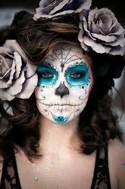 Maquillage squelette bleu